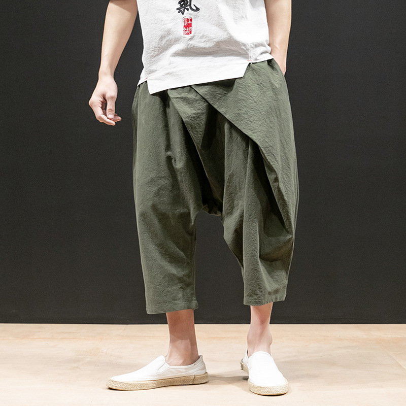 2019 New Style Summer Wear Loose-Fit Multiple Harem Pants 3D Cutting Solid Color Casual Pants Men's Chinese-style Capri Pants