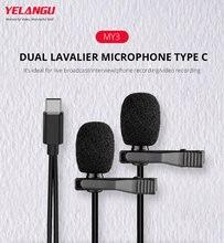 Микрофон type c петличный двойной микрофон usb для tik tok livestream