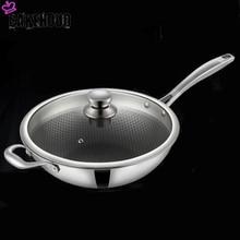 CAKEHOUD casserole de cuisson universelle antiadhésive sans fumée, 34cm, Wok couvercle en verre pour la cuisine, longue poignée, cuisinière à gaz