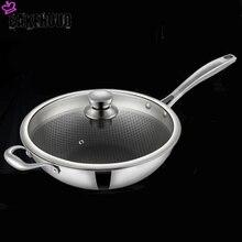 Cakehoud 34cm household antiaderente pan smokeless wok cozinha cozinhar panela de vidro capa longa alça fogão a gás universal panelas