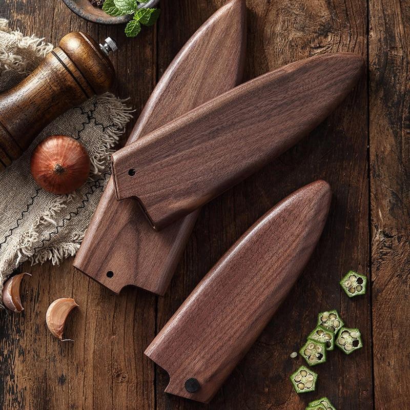 Black Walnut Solid Wood Magnetic Scabbard Japanese Style Blade Knife Fish Head Knife Cuisine Sushi Knife