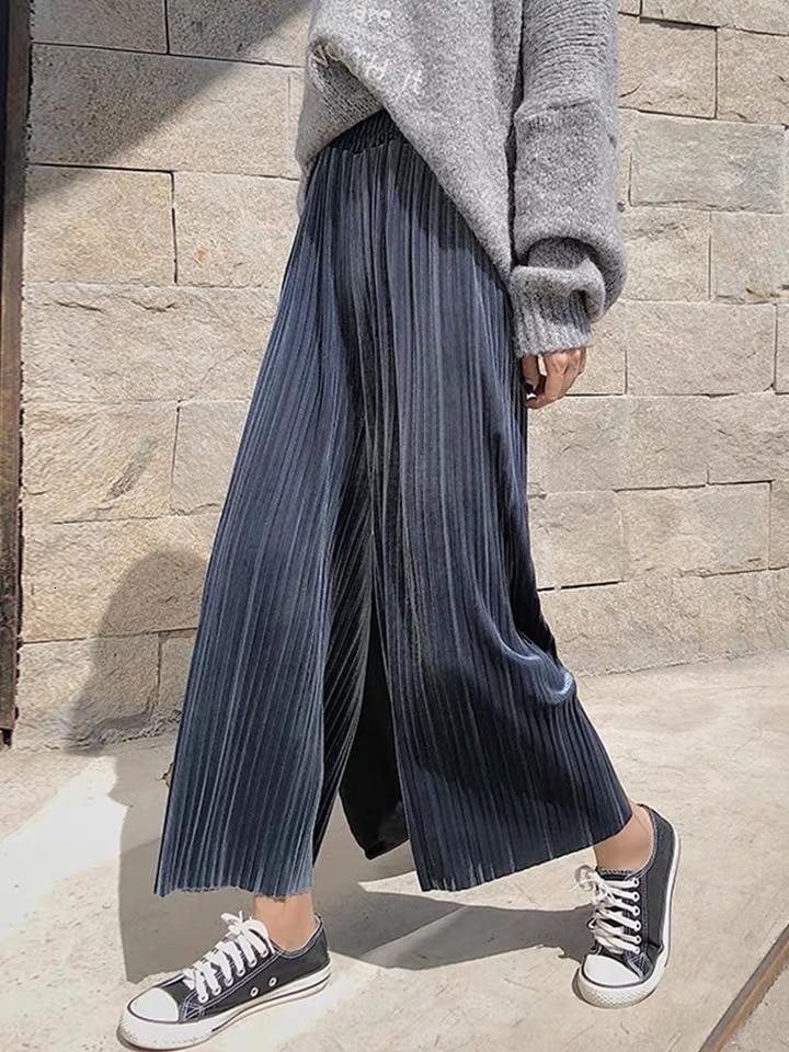 2020 Winter Women Velvet   Wide     Leg     Pants   Female Retro High Waist Plus Size Loose Casual Autumn Straight Sweatpants Long Trousers