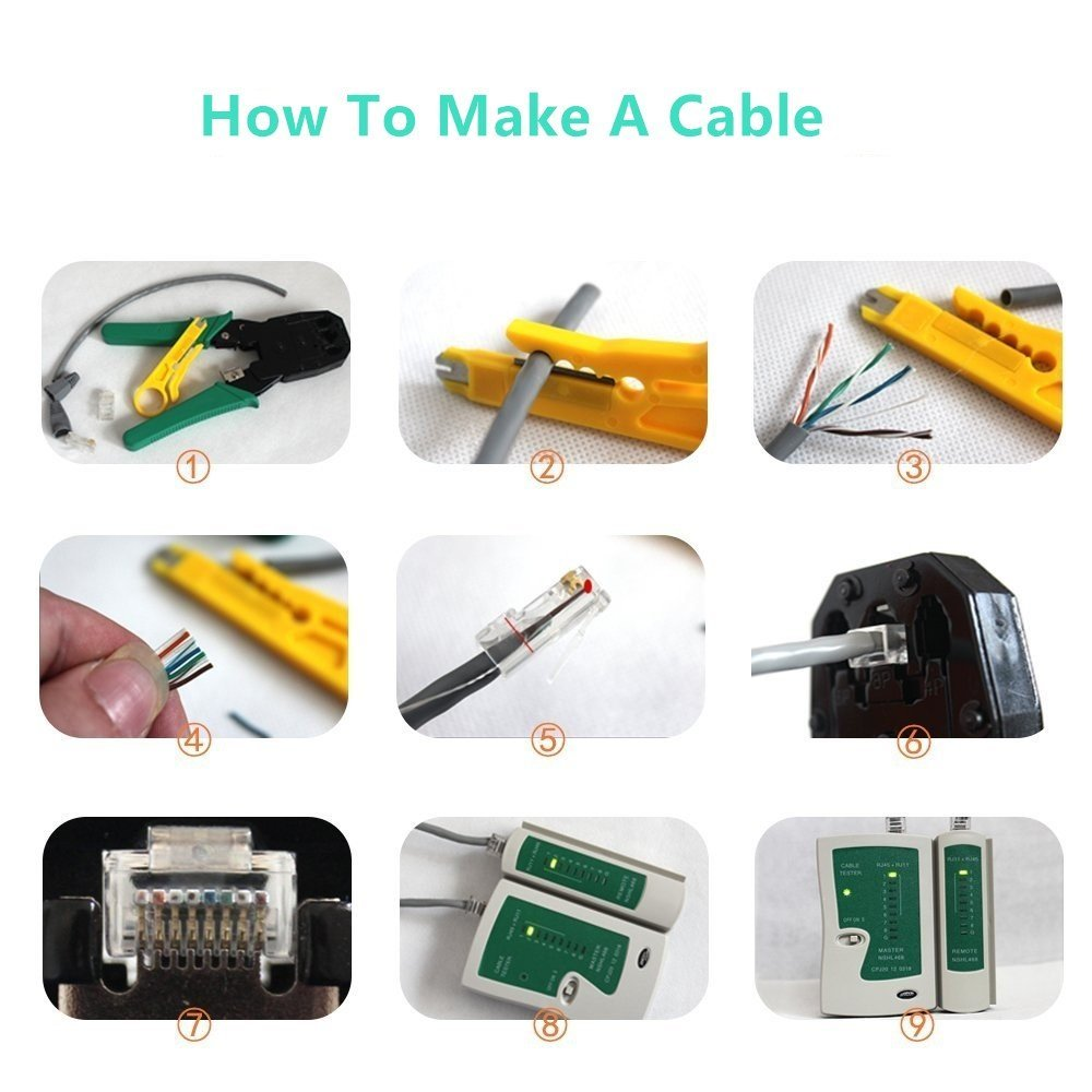 Купить с кэшбэком 11pcs/set RJ45 RJ11 RJ12 CAT5 CAT5e Portable LAN Network Repair Tool Kit Utp Cable Tester AND Plier Crimp Crimper Plug Clamp