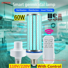 60W UVC stérilisant la lampe de désinfection à distance E26 E27 195LED 254nm ampoule lumière ultraviolette UVC lampe germicide lampe de désinfection(China)