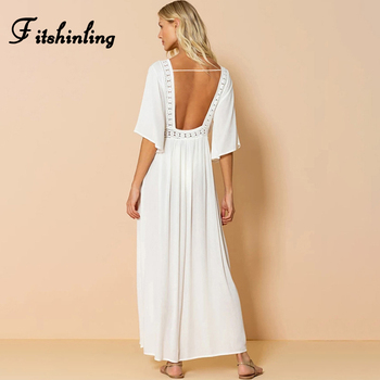 Fitshinling Bohemian Backless Beach Kimono Women Lace Splice Holiday Sexy Bikini Cover-Up Slim White Long Cardigan Outing Sale