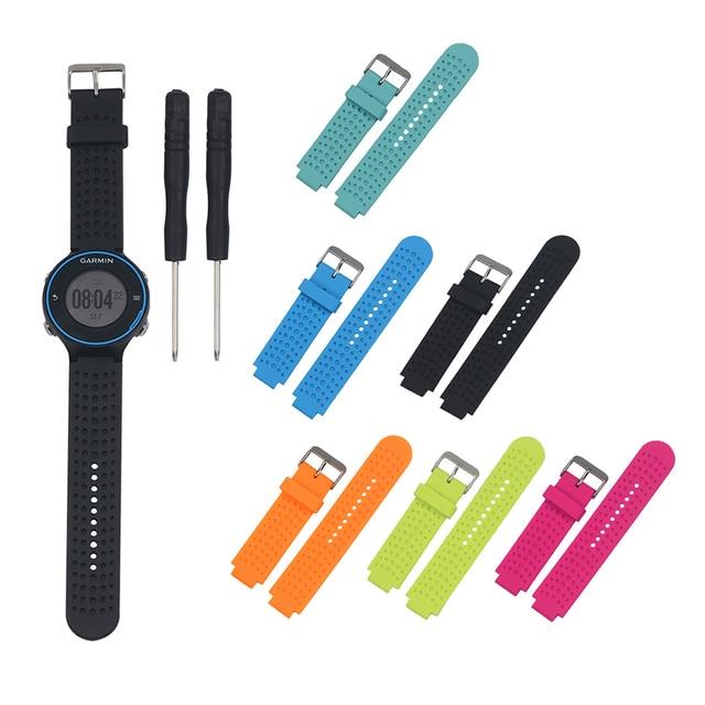 سيليكون استبدال حزام المعصم الفرقة حزام ساعة اليد مع أداة مجموعة ل Garmin Forerunner 220 230 235 630 620 735 نهج S20 S5 S6