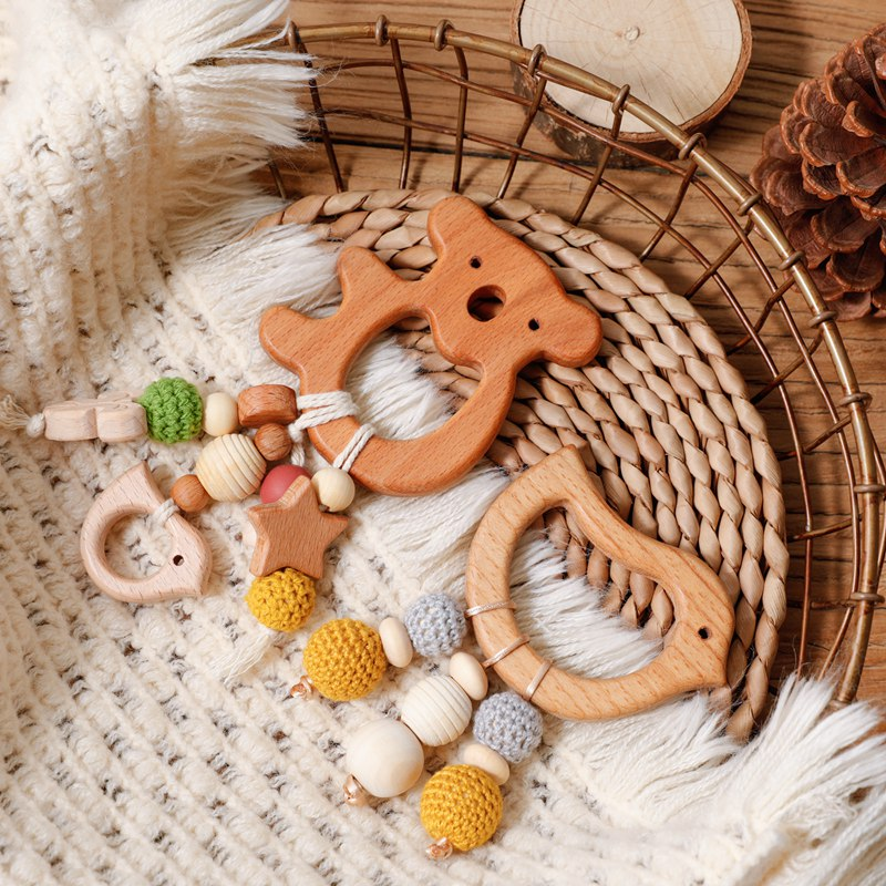 1pc Wooden Teether Baby Rodent Beech Teeth Animal Koala Pendant Mobile Music Rattle Gym Baby Montessori Bracelet Charm Pram Toys