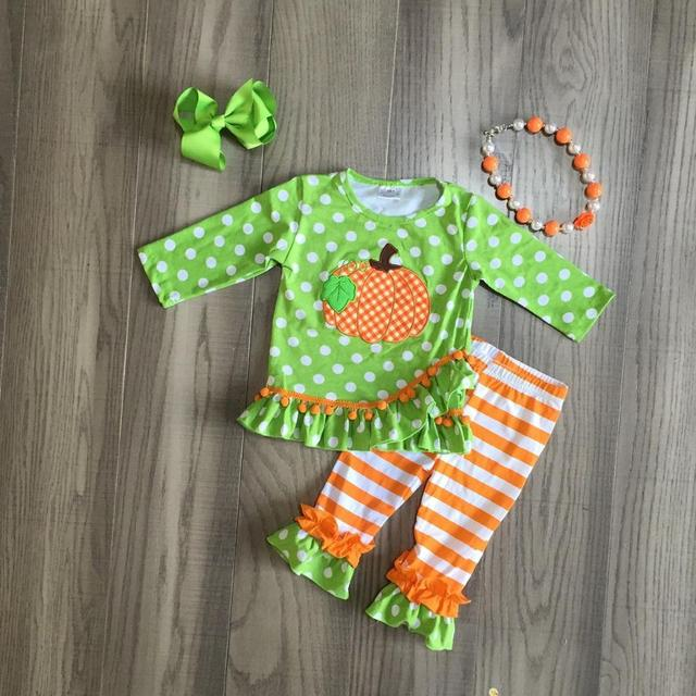 baby Girls Halloween clothing girls pumpkin print green outfits with orange tripe pant fall ruffled outfits matching accessories