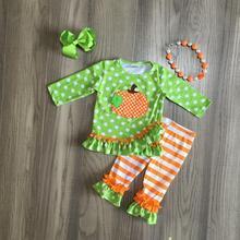 เด็กทารกฮาโลวีนเสื้อผ้าฟักทองพิมพ์สีเขียวชุดกับ orange tripe กางเกงฤดูใบไม้ร่วง ruffled ชุดอุปกรณ์เสริมที่ตรงกัน