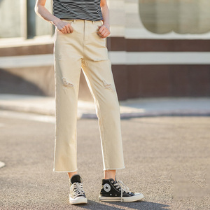 Image 3 - INMAN 2020 Summer New Arrival Pure Cotton High Waist Rough Selvedge Worn out Hole Loose Ankle Length Pant