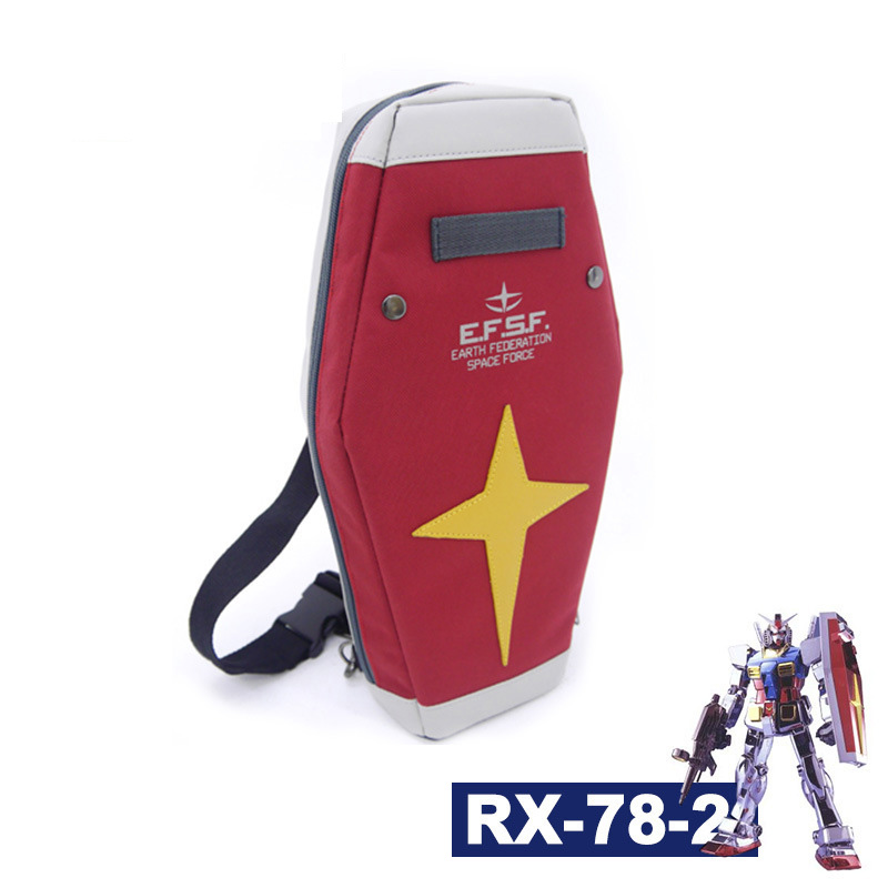 Harajuku Mobile Suit Gundam RX-78-2 Shield Bag Anime Cosplay Red School Backpack Shoulder Bag Arm Single Travel Messenger Bags