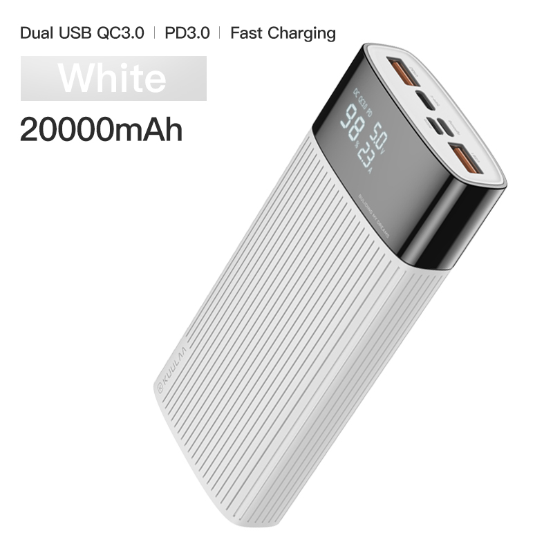 KUULAA power Bank 20000 mAh usb type C PD Быстрая зарядка+ Quick Charge 3,0 power Bank 20000 mAh Внешняя батарея для Xiaomi iPhone - Цвет: White