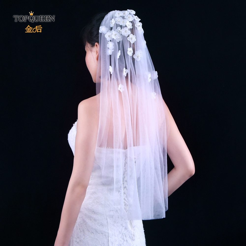TOPQUEEN 2020 Cheap Wholsale One Layears White Ivory Veil for Women Flower Veils for Brides Wedding Veil Wedding Accessory V46