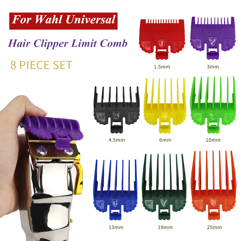 geneic 8Pcs Universal Hair Clipper Limit Comb Guide Attachment Size Barber Replacement