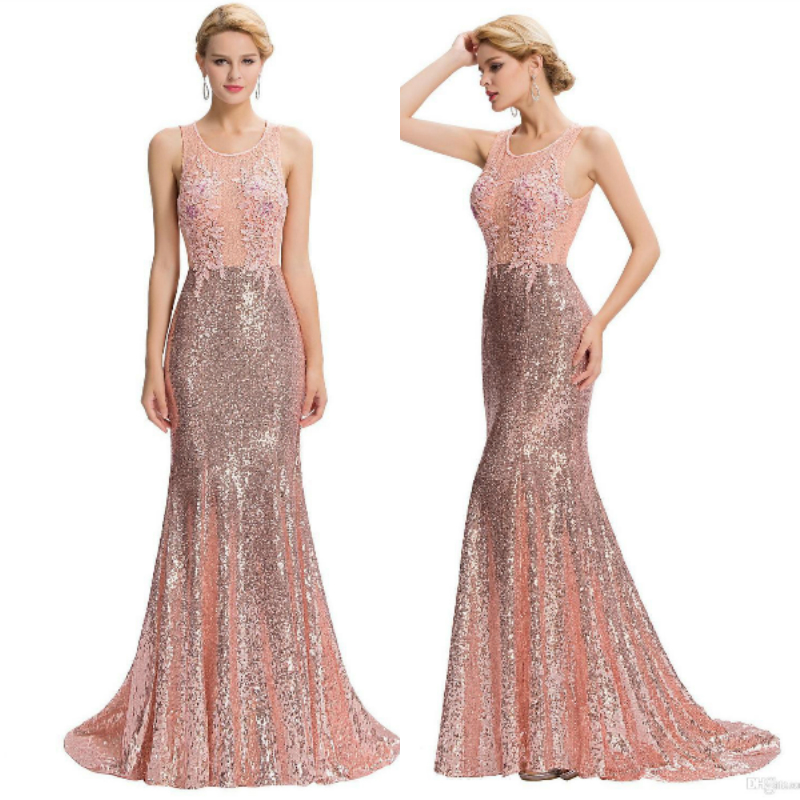 Pink Sequined Long Prom 2018 New Hot Sexy Backless Robe De Soiree Courte Saree Party Gown Mermaid Prom Mother Of The Bride Dress