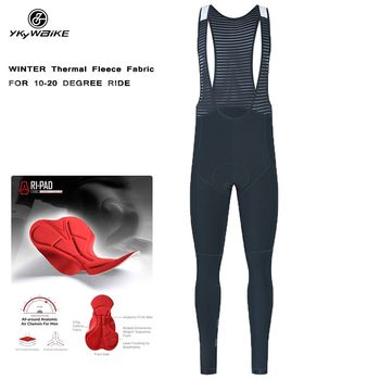 YKYWBIKE-Pantalones con tirantes de ciclismo para hombre, mallas de invierno con almohadilla,...