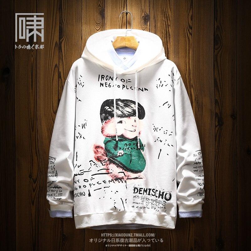 Sweat-shirts de bande dessinée hommes à manches longues col rond slim fit hoodies à capuche japonais élégant couple blanc automne survêtement vêtements