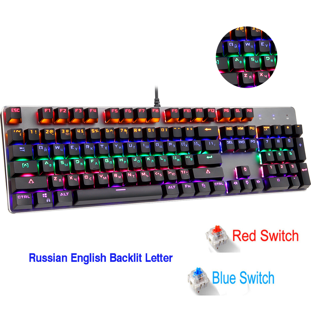 RGB Mechanical Keyboard 104 keys Russian Gaming Keyboards English Blue Switch for Tablet Desktop PK CK104 keyboard
