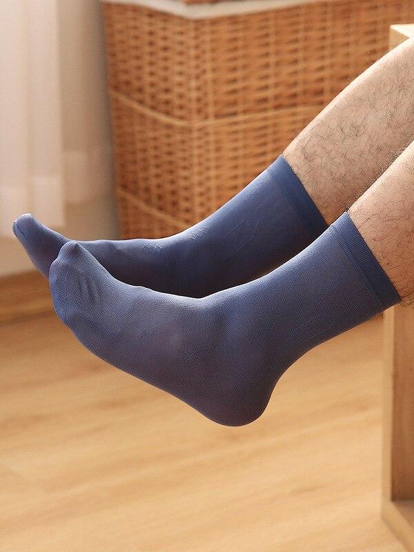 Men Silk Stockings Summer Ultra-Thin-Socks MEN'S Socks Deodorizing Sweat Absorbing Breathable Short Socks Tube Socks