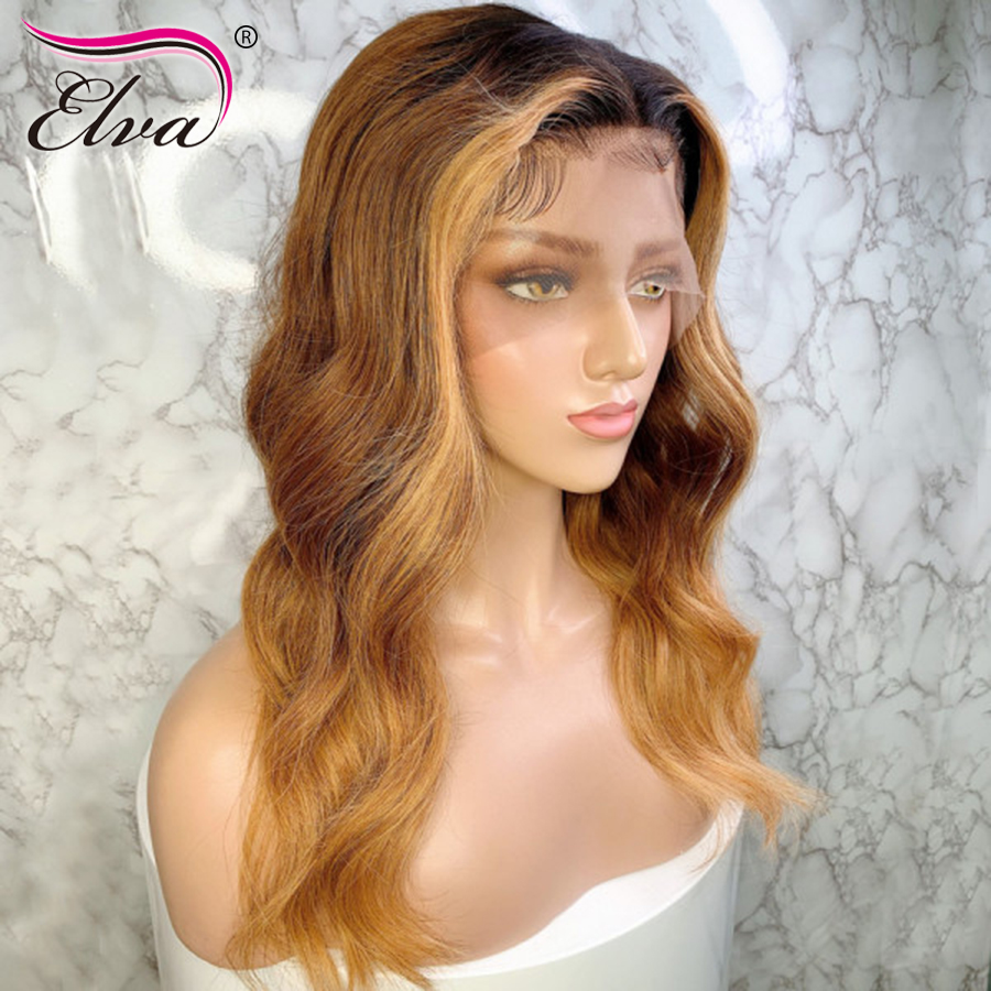 13*6 3T Lace Front Human Hair Wigs Elva Hair Brazilian Remy Hair Body Wave Lace Wigs Pre-Plucked Wigs With Baby Hair Ombre Wigs