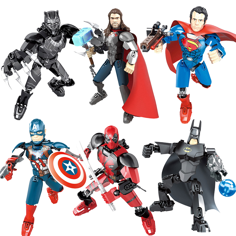 2020 Avengers Super Hero Assembly Action Figure Spider Man Deadpool Batman Superman Marvel Building Blocks Doll Toy For Children