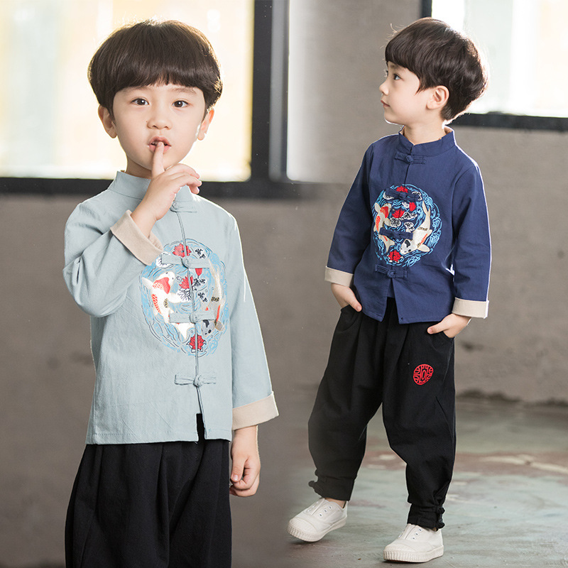 Children Small Fish Chinese Clothing Two-Piece 2019 Autumn New Style Children Ethnic-Style Performance Wear Chinese Costume Set