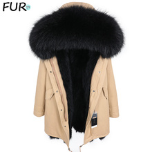 Fur Coat Parkas Lining Raccoon-Fur-Collar Real-Fur Winter Warm Men Fashion for New