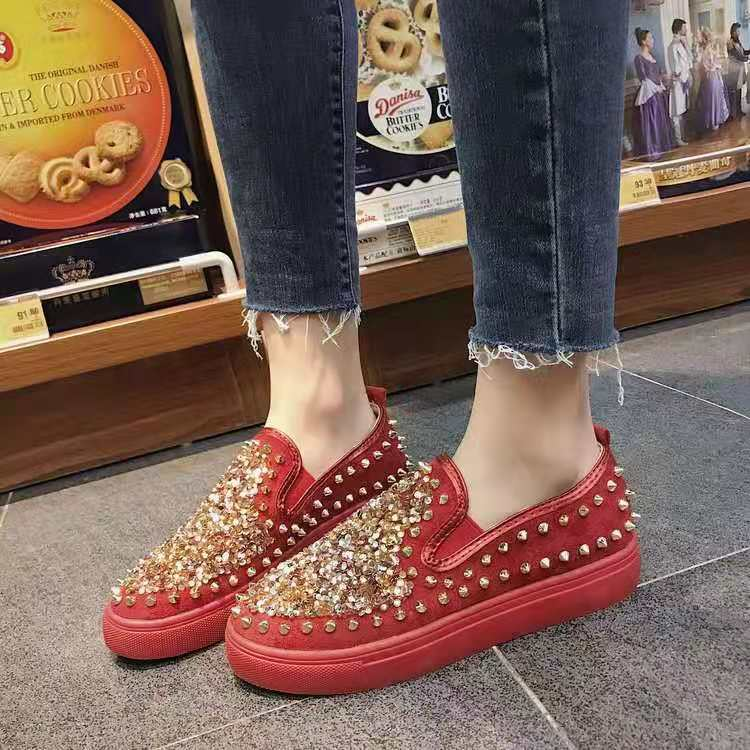2020 High Quality Women Bling Flats Sequins Crystal Studded Slip On Lazy Loafer Flat Round Toe Rhinestone Shoes Causal Loafers