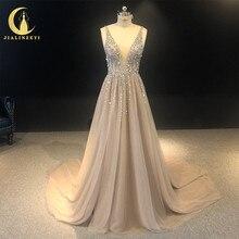 라인 진짜 사진 v 넥 비즈 스팽글 브라운 a 라인 섹시한 뒤로 고급스러운 아랍어 공식 드레스 이브닝 드레스 긴 2020