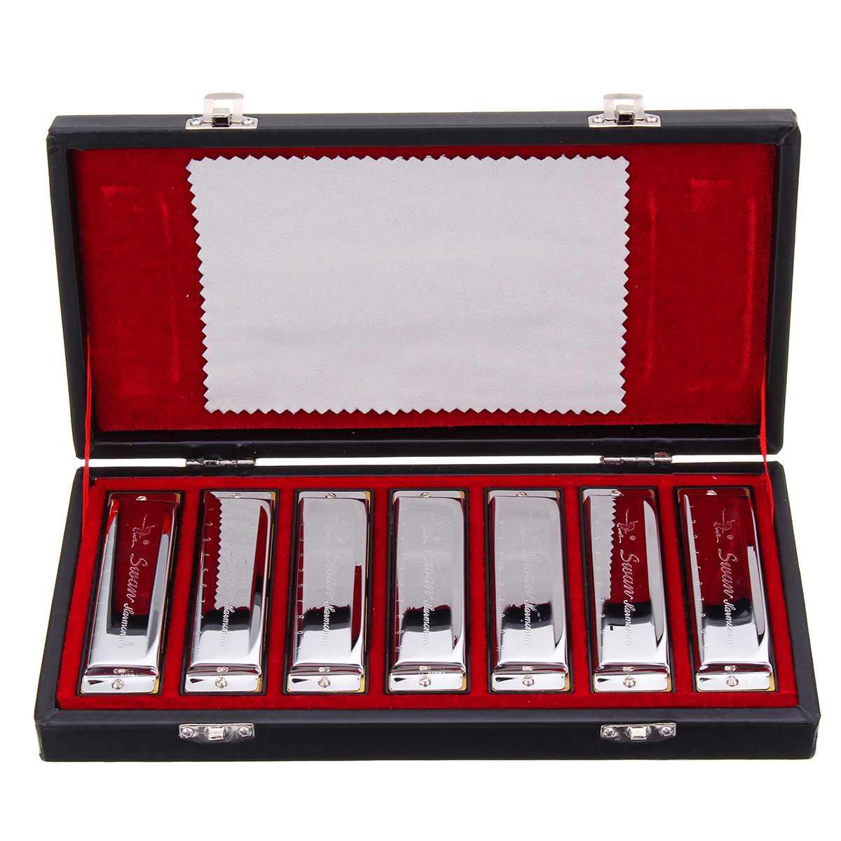 10 Holes Blues Harmonicas Set 7 Keys Performance Haronica ABCDEFG Key Music Musical Instruments Performing Gift Present Box
