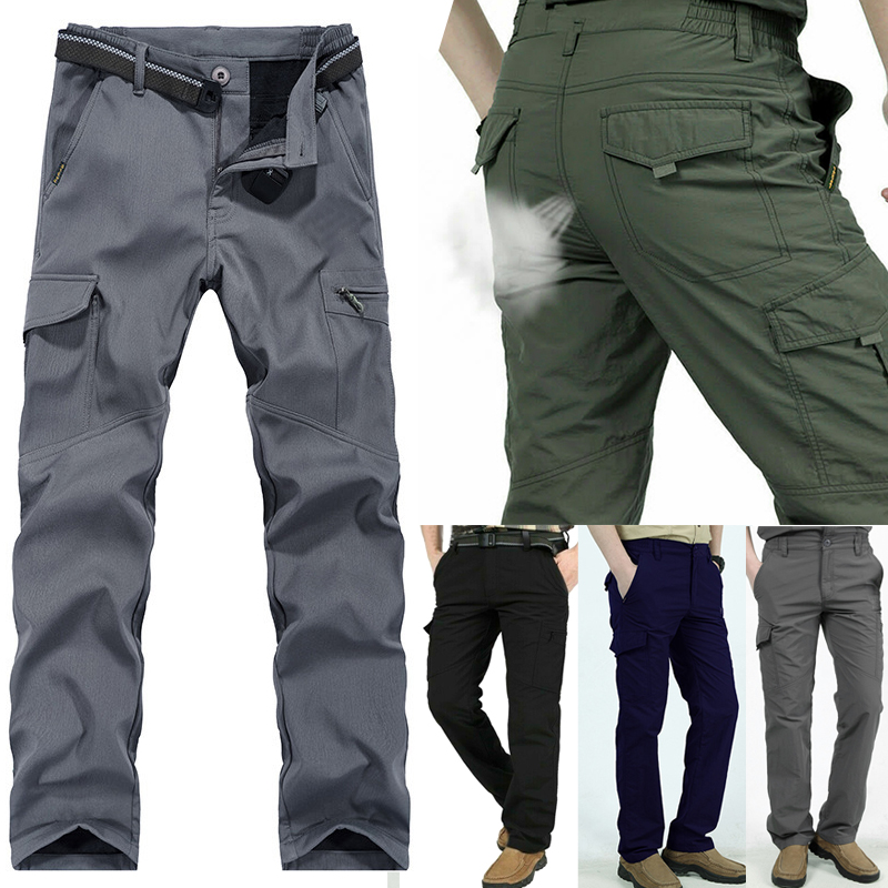 2019 Autumn Fashion Men Work Multi-Pockets Pants Outdoor Climbing Hiking Quick-Drying Trousers Mens Solid Color Simple  Pants
