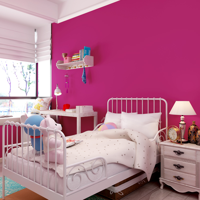 Papier peint Non tissé De papier peint De couleur solide De Rose De petit pain moderne De papier peint De salon De chambre à coucher