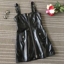 Women's brand new high quality real leather Overalls Dresses Chic women moto&biker dress B005 женское платье dress new brand 2015 women dresses