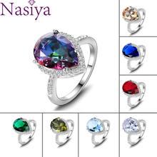 925 srebrny pierścień Mystic Rainbow Topaz akwamaryn Emerald Sapphire Ruby multi-color biżuteria pierścionki ślub prezent na walentynki