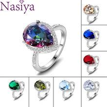 925 Silver Ring Mystic Rainbow Topaz Aquamarine Emerald  Sapphire Ruby Multi-Color Jewelry Rings Wedding Valentine's Day Gift