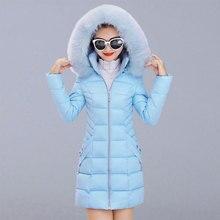 Abrigo Casual de Invierno para mujer nueva moda estilo coreano con capucha con abrigo de piel gruesa Parkas para mujer chaquetas largas abrigos P112
