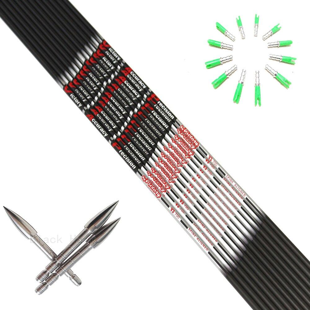 12pcs tiro com arco flecha de carbono 04