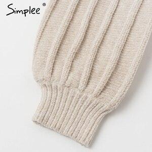 Image 5 - Simplee Turtleneck knitted women sweater dress Autumn winter casual lantern sleeve female dress Elegant soft ladies party dress