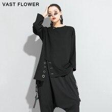Irregular Split Black Plus Size T-Shirt Women Loose Casual Long Sleeve Tee Shirt Femme Tops Fashion Clothes Spring Autumn 2021