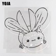 Yoja 24 × 22.8cm vinil coccinella septempunctata animais dos desenhos animados carro adesivos decalque preto/silv0er 19c-0048