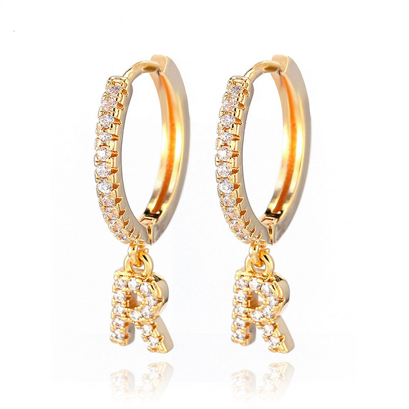 1 Pair Trendy Cubic Zirconia Initial Letter A-Z Earrings Gold Small Hoop Earrings For Women Jewelry Oorbelen Orecchini 2020