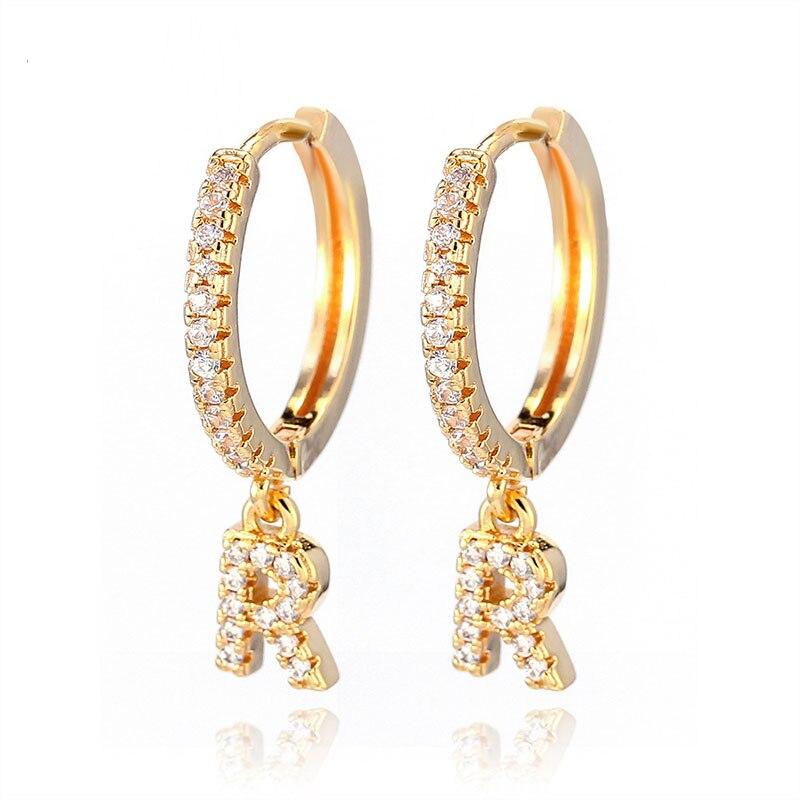 1 pair Trendy cubic zirconia Initial Letter A-Z Earrings silver gold small hoop earrings For Women Jewelry oorbelen orecchini