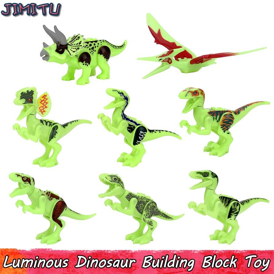 Светящиеся игрушки динозавра для детей Юрского периода тираннозавр Светящиеся в темноте строительные блоки обучающая игрушка подарок укр...