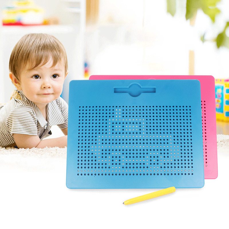 Magnetic Tablet Magnet Pad Drawing Toys For Children Drawing Board Steel Bead Stylus Pen Pop Bead Learning Notebook Writing Toys