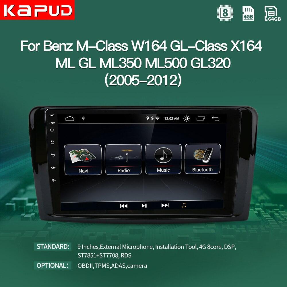 Kapud-Radio Multimedia con GPS para coche, Radio con reproductor, Android 10, 9 pulgadas, navegador, estéreo, BT, para Mercedes Benz ML clase M W164 clase GL X164