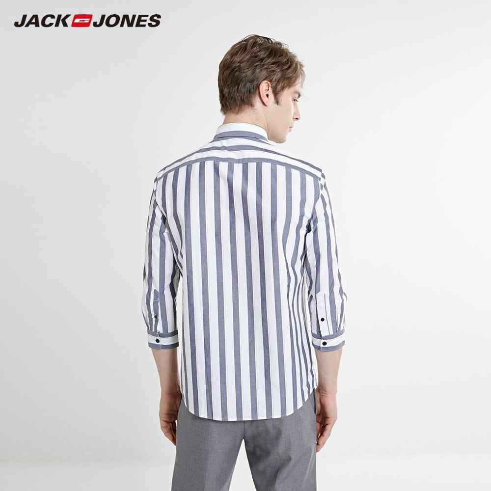 JackJones Мужская весенне-летняя Прямая рубашка из 100% хлопка в полоску с рукавами 3/4 мужская одежда   219231504