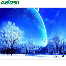 AZQSD Full Square Diamond Embroidery Winter Scenic Mosaic Display Handmade Home Decoration Rhinestones Pictures