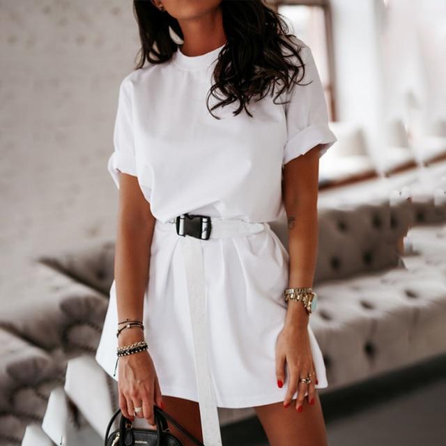 NEDEINS Summer Dress Women Solid Color Dress Casual Loose Dresses Summer Fashion Dress 2020 including Belt 4