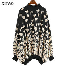 XITAO Vintage Print Pattern Blouse Chiffon Floral Full Sleeve Knitted 2020 Spring Goddess Fan Casual