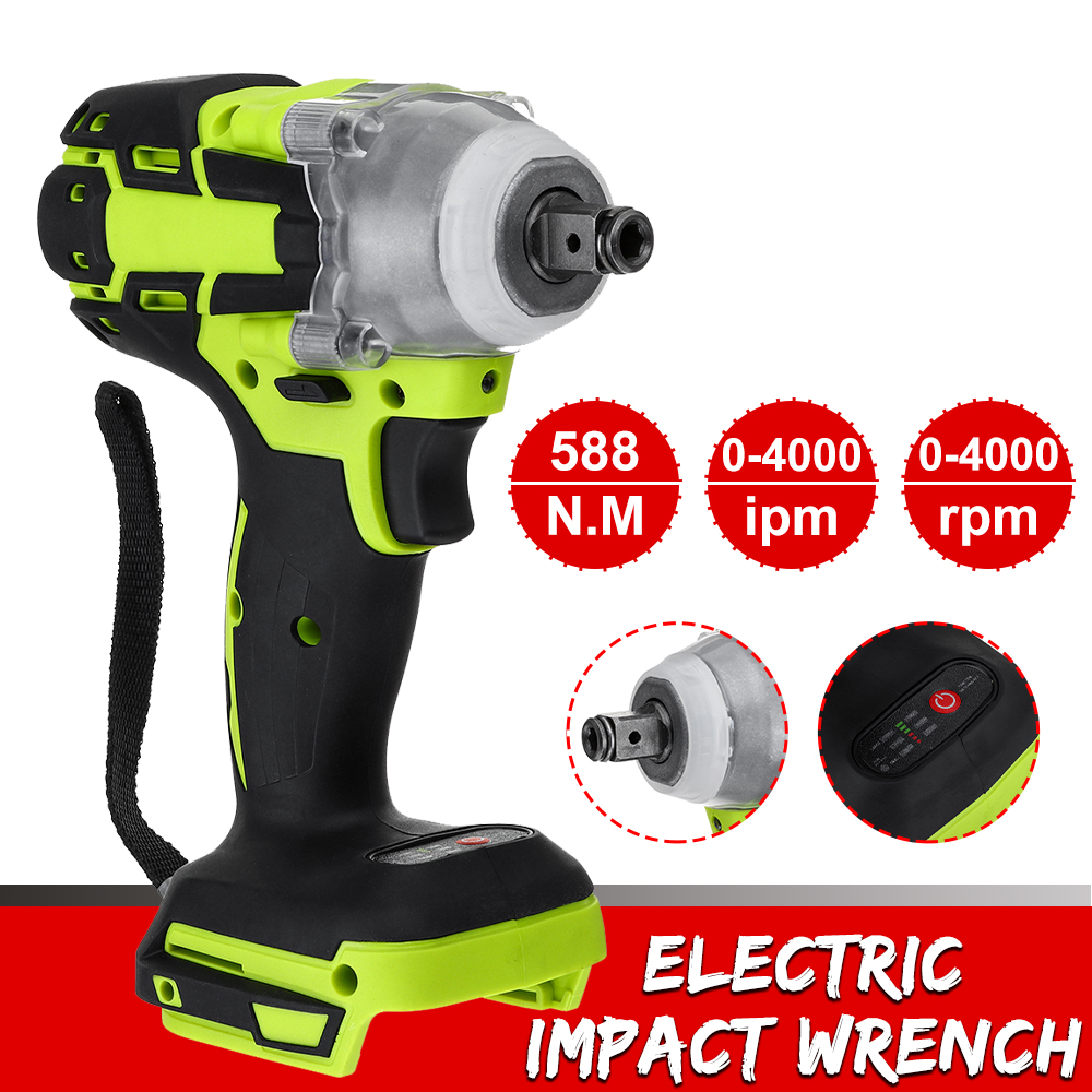 18V 588N M Electric Rechargeable Brushless Impact Wrench Cordless 1 2 Socket Wrench Power Tool Wireless Electric Impact Wrenches